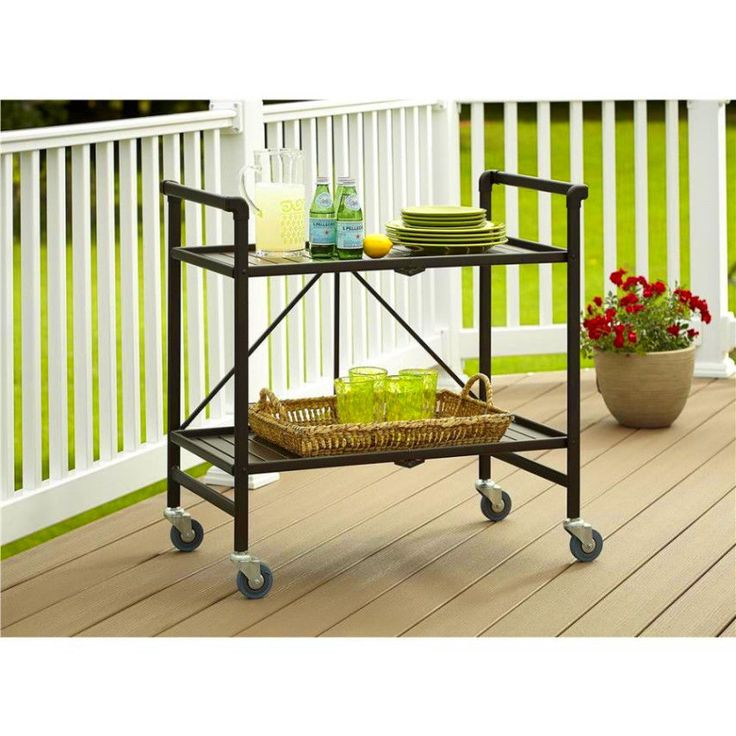 Outdoor Serving Cart Folds Flat For Transportation And Storage No Tool Assembly #Cosco