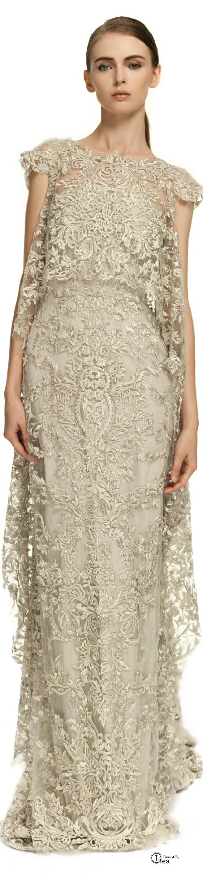 Marchesa ● Illusion Tulle Gown With Embroidered Cape Overlay