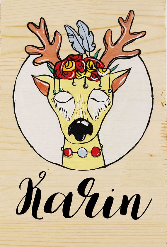 Woodland deer nusery and baby shower custom name sign new