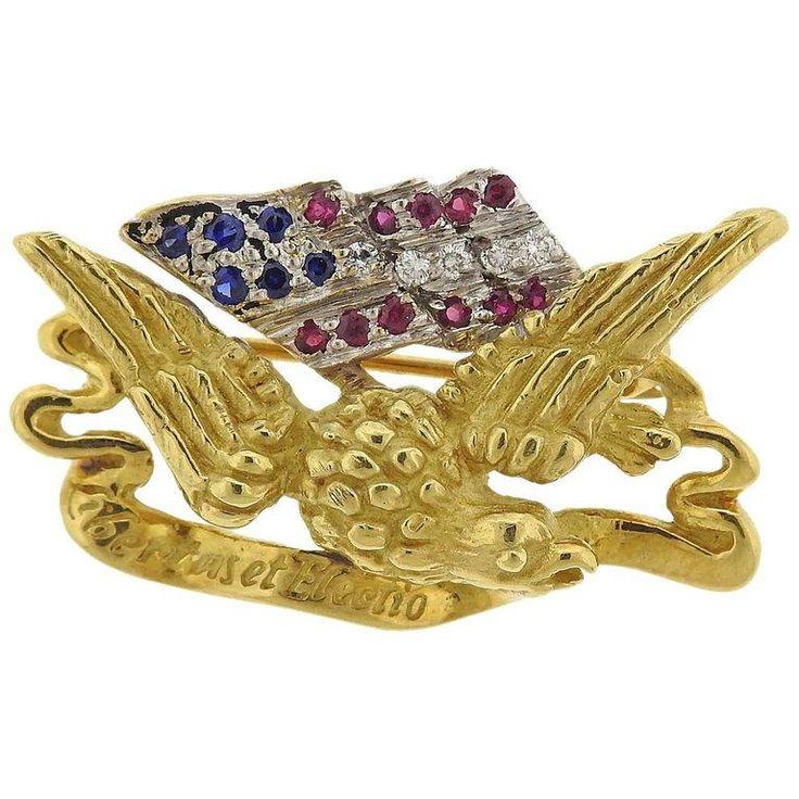 Haume Diamond Ruby Sapphire Gold Freedom Eagle American Flag Lapel Pin