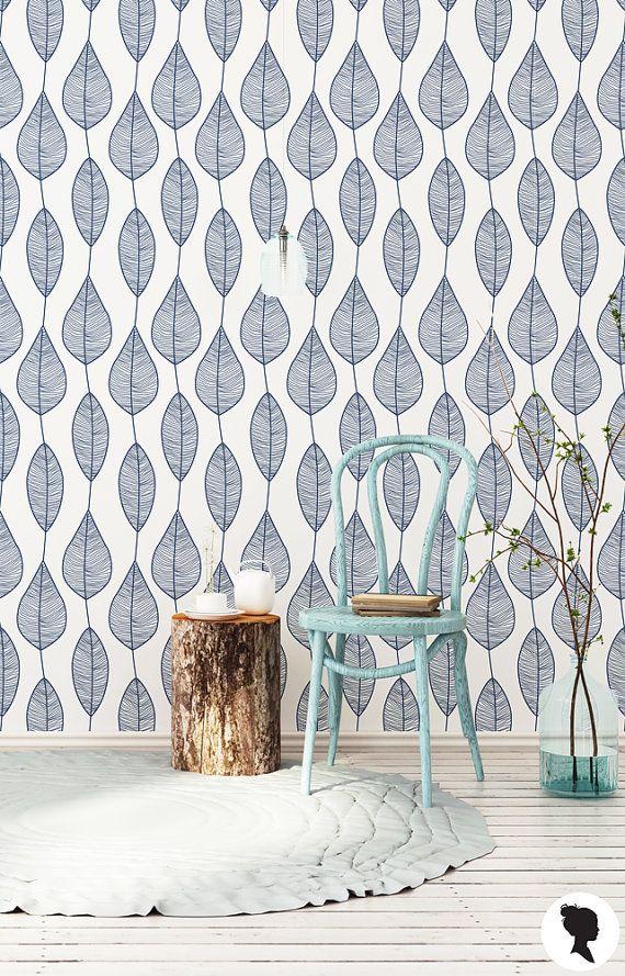 Stripy Leaf Wallpaper / Regular or Self Adhesive Wallpaper M1001