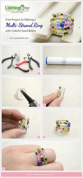 Jewelry Making Tutorial-Make a Multi-Strand Ring with Colorful Seed Beads | PandaHall Beads Jewelry Blog