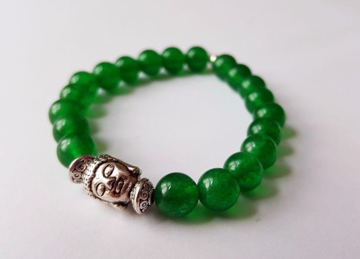 Unisex Genuine Green Jade Buddha Bracelet by Wild Lotus Jewellery