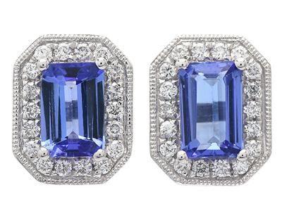 ÖRHÄNGEN, 18K vitguld, smaragdslipade tanzaniter ca 1,14 ctv, 36 briljantslipade diamanter ca 0,20 ctv, ca TW-W/VS, vikt 2,6 g, stift. #earrings #jewelry #tanzanite