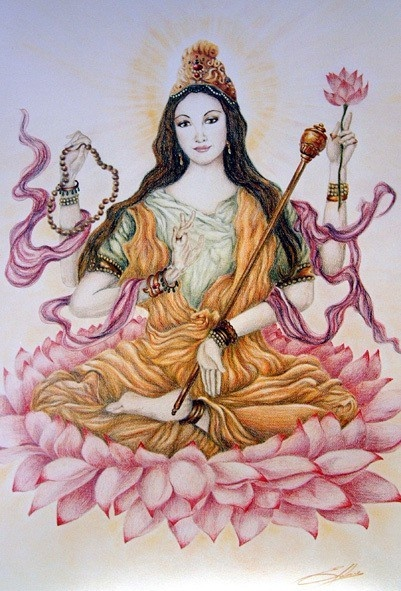 Saraswati: Goddess of creativity, music, and art is another one of Feminine Divine Goddesses that we are aligned to and have alters to honour that alignment.