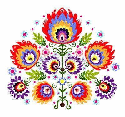 Zdjęcie ludowy wzór - kwiaty | Fototapety | Dekoracje Na Wymiar