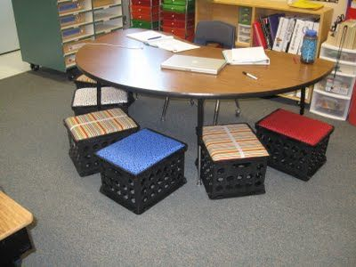 DIY Storage Crate Seats by whattheteacherwants: Great in the classroom or at home! #DIY #Storage_Crate_Seats #whattheteacherwants