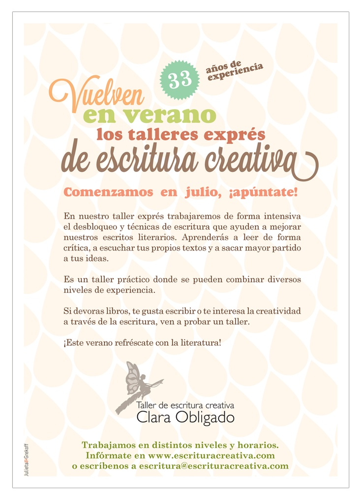 Dorso del flayer para los cursos de verano de El taller de escritura creativa impartidos por Camila Paz
