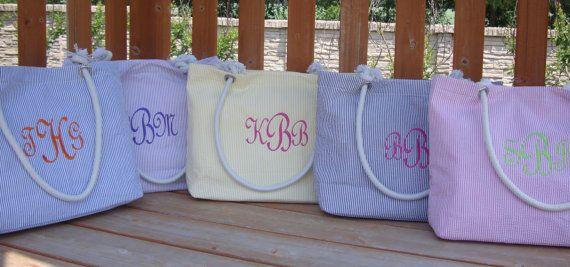 Seersucker Beach Tote Bags.  Bridesmaid Gift.  Mother of the Bride and Groom.
