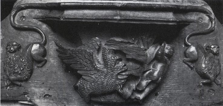 gastrocephalic dragon (head and neck damaged/sheared off) pursues putto -- misericord in parish church, Throwley, Kent, carved c.1520 -- motif derIves from [ABBREVIATED VERSION OF] Parisian metal-cut ornament -- SEE NEXT