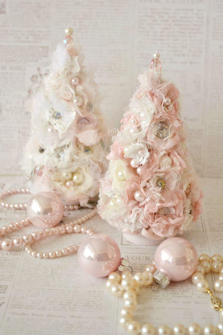 beautiful small ribbon work christmas tree by jenneliserose - Handmade Shabby Chic Christmas Decorations