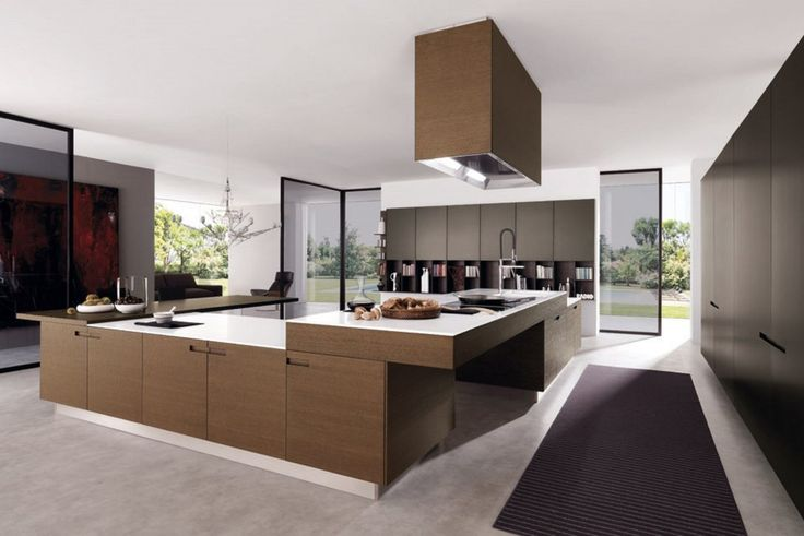 Kitchen:Glass Door White Laminate Countertop Contemporary Kitchen Cabinet Laminate Open Shelves Gas Cooktop Range Hood Wall Painting Consider The Concept of The Contemporary Kitchen Interior