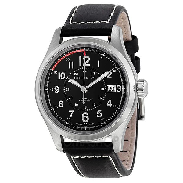 Hamilton Khaki Field Automatic Black Dial Black Leather Mens Watch H70595733