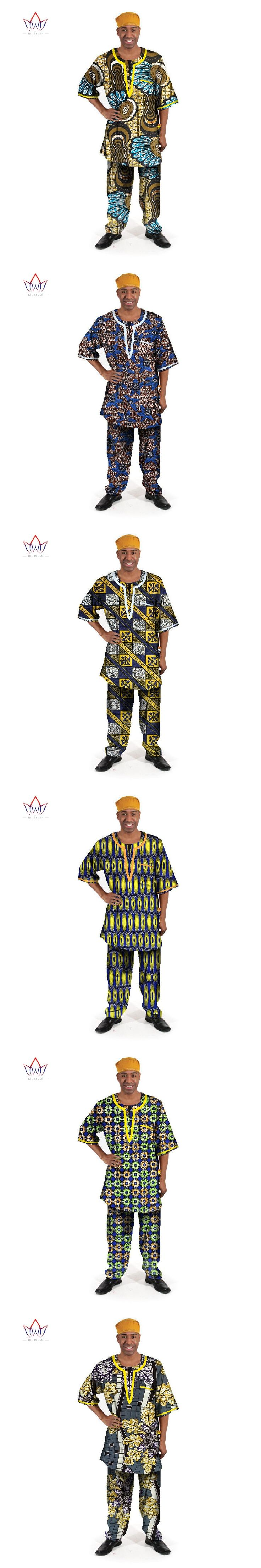 BRW Traditional African Clothing Mens 2 Pieces Set Half Sleeve Slim Fit Man Tees and Trousers Sets Dashiki Men Clothes WYN76
