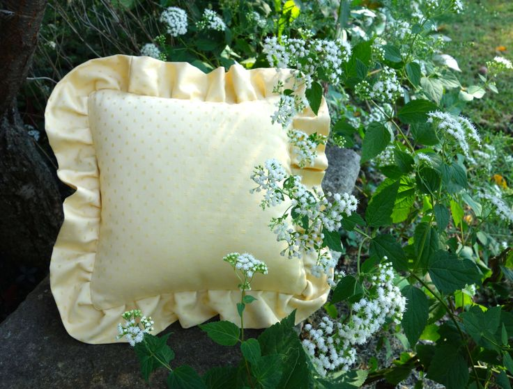 Handmade Square Yellow Ruffled Pillow, Yellow Dotted Sofa Toss Pillow - pinned by pin4etsy.com