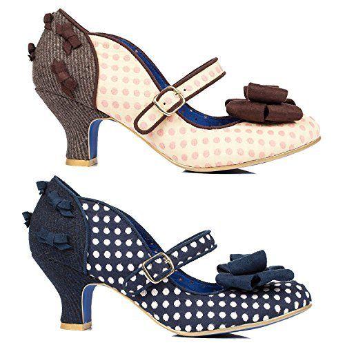 Poetic Licence Miss Thing Womens Gepunktet Absatz Retro Vintage 40er jahre Schuhe mit Exklusiv Starlet Shopper Tragetasche - http://on-line-kaufen.de/poetic-licence/poetic-licence-miss-thing-womens-gepunktet-retro