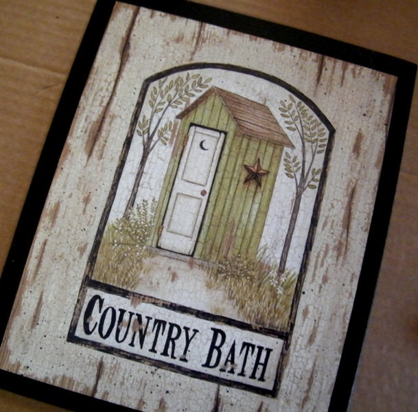 OUTHOUSE Green Primitive Country Bath Bathroom 9x11 In Sign FREE