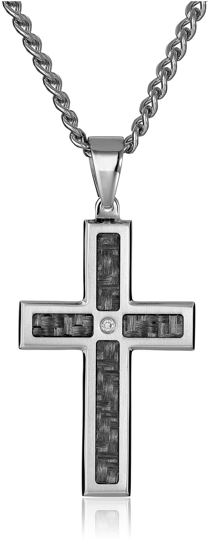 """Men's Stainless Steel and Carbon Fiber Cross with Diamond Accent Pendant Necklace (.02 cttw), 24"""". Imported. All our diamond suppliers confirm that they comply with the Kimberley Process to ensure that their diamonds are conflict free."""