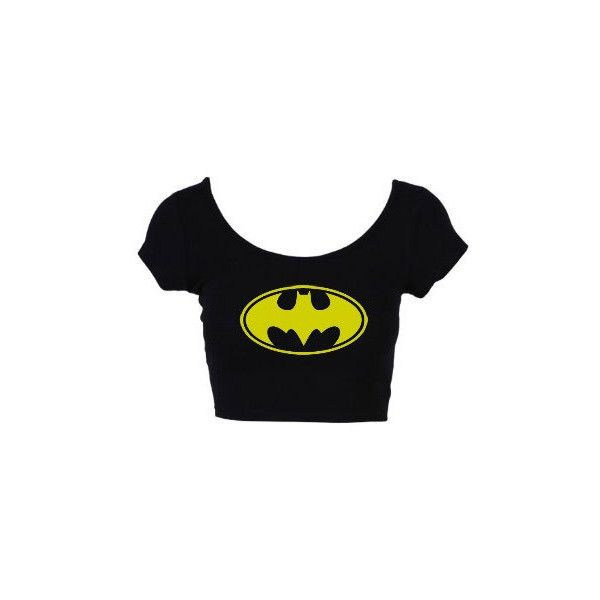 Ropa de verano estilo Batman recortada Tops t Shirt manga corta camisa... ❤ liked on Polyvore featuring tops, t-shirts, batman, shirts, crop tops, black veil brides, crop top, cut-out crop tops, tee-shirt and bride t shirt
