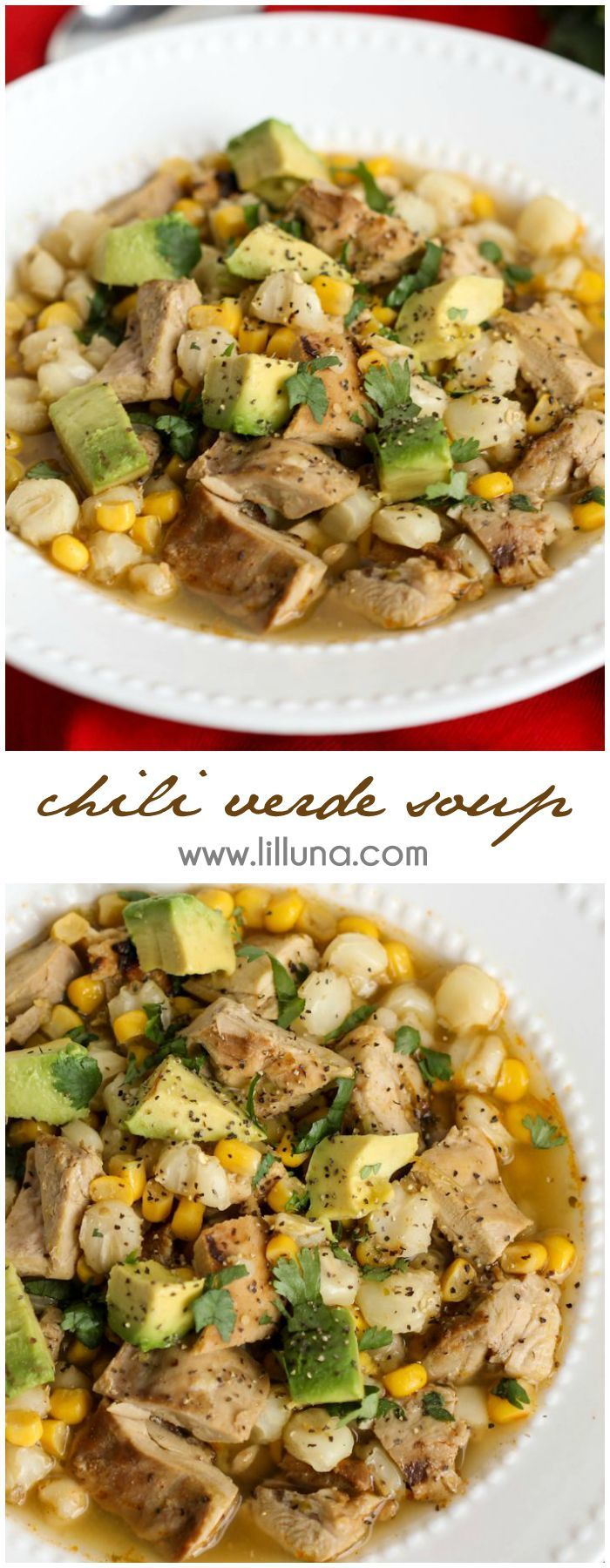 Delicious Chili Verde Soup filled with chicken, corn, avocado, cheese and more! It's SO good! Get the recipe on { lilluna.com }