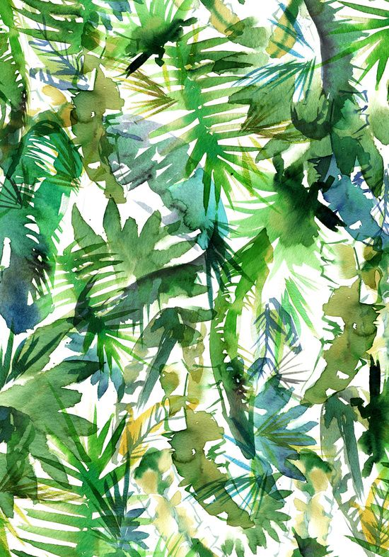 VIBE of the Jungle  {A-green} Art Print SchatziBrown white & green tropical pattern