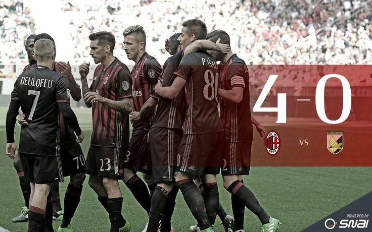 #MilanPalermo #final 4-0 Schedule:  8. Suso (MILAN) 80. Pasalic (MILAN) 70. Bacca (MILAN) 7. Deulofeu (MILAN)