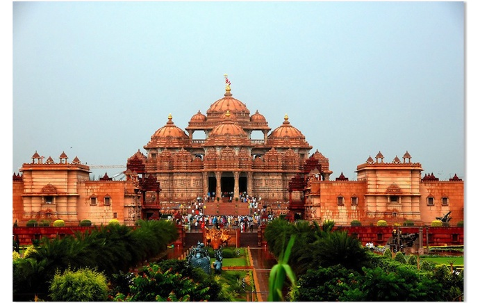 Akshardham is majestic, intricately carved stone structure at Gandhi nagar. It is built in 6000 tonnes of pink sandstone and not a bit of steel has been used. The temple is 108 ft in height, 240 ft in length and 131 ft in width. A point worth noting is that this modern monument to Hinduism was built as per the injunctions of Vastu Shastra.The monument enshrining the seven foot high, gold-leafed Murti (idol) of Lord Swaminarayan is the focal point of the complex.