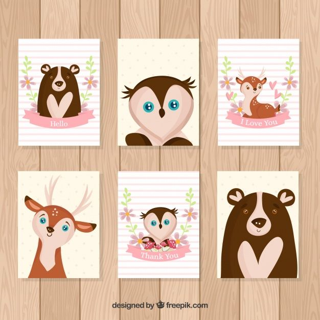 Lovely pack of cards with hand drawn animals Free Vector