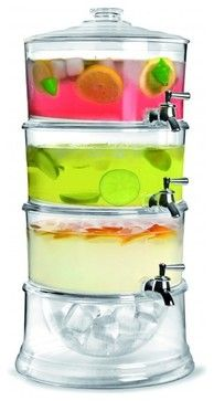 Brilliant Patio Acrylic 3-Tier Beverage Dispenser With Ice Chamber Base  ~  http://www.houzz.com/photos/30927071/Brilliant-Patio-Acrylic-3-Tier-Beverage-Dispenser-With-Ice-Chamber-Base-contemporary-beverage-dispensers