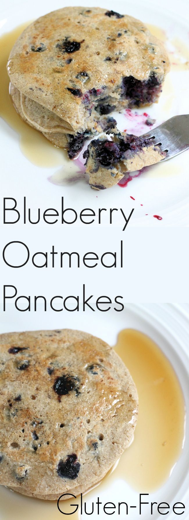Blueberry Oatmeal Pancakes - gluten free, low in calories and packed with heart healthy soluble fiber from oats and antioxidants from blueberries.
