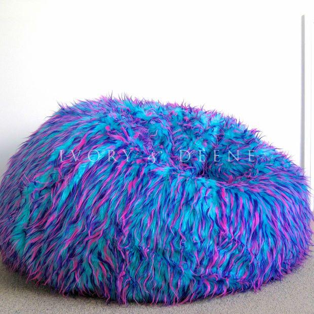 LARGE SHAGGY FUR BEANBAG Blue Pink Cloud Chair Lush & Soft Bean Bag Retro Lounge