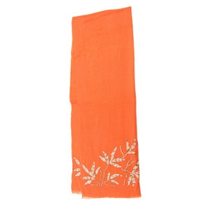 Flower Beaded Scarf Salmon I