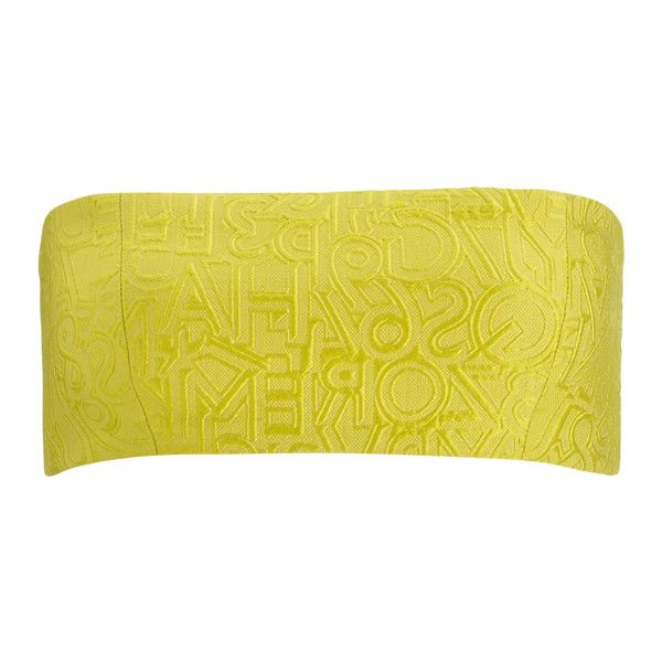 BANDEAU ALPHABET YELLOW ❤ liked on Polyvore featuring tops, yellow top, bandeau tops and yellow bandeau top