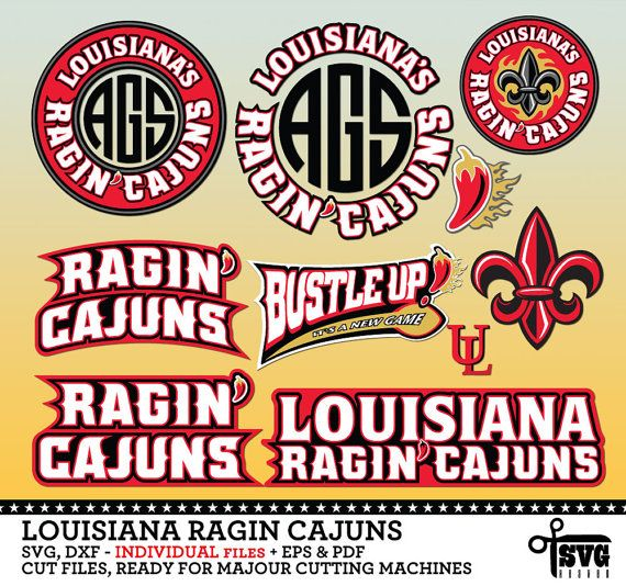 Louisiana ragin cajuns monogram frame logos by svgheavenstore