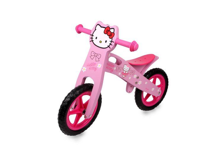 """Laufrad """"Hello Kitty"""". Ein Kinderlaufrad-Renner – in mehrfacher Hinsicht! Im niedlichen Hello Kitty-Design ist das Holzlaufrad nicht nur ein """"Mädchen-Muss"""", sondern auch das perfekte Trainingsgerät für das spätere problemlose Fahrrad-Lernen. Holzspielzeug, Maße: ca. 82 x 39 x 56"""