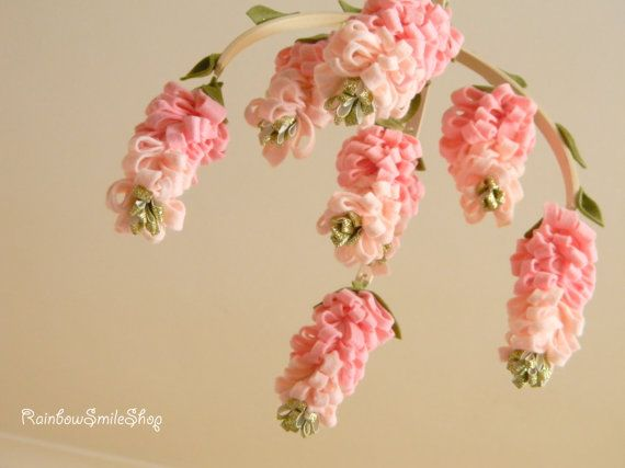 Pink wisteria baby mobile Flower mobile Baby by Rainbowsmileshop