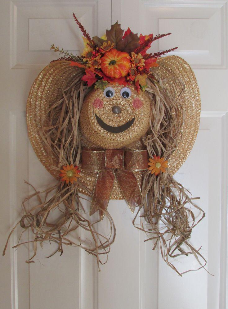 Best 25+ Straw hat scarecrow wreath ideas on Pinterest ...