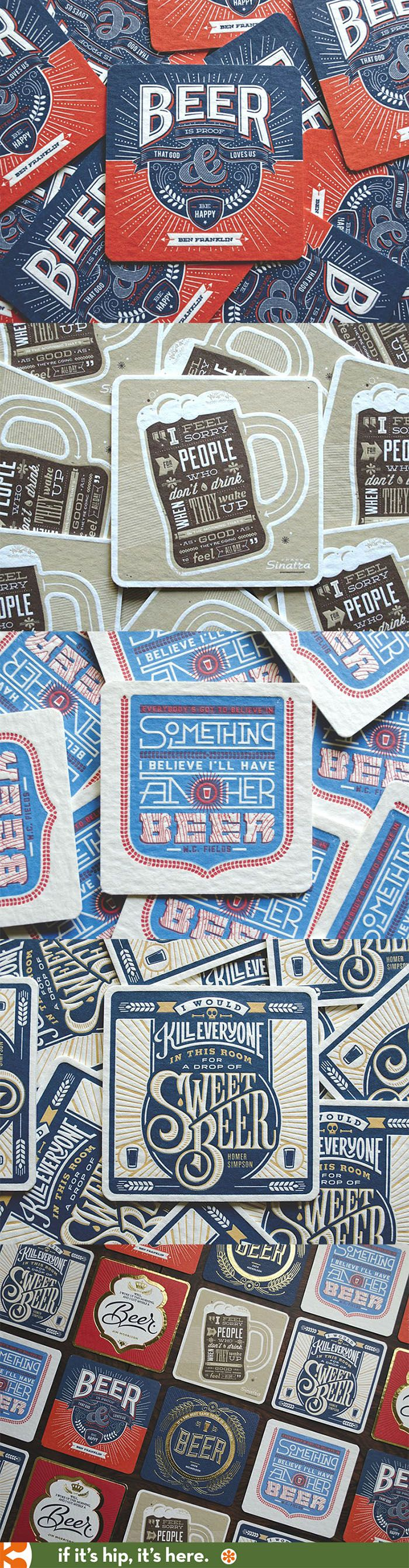 Incredible letterpress Beer coasters complete with stand.