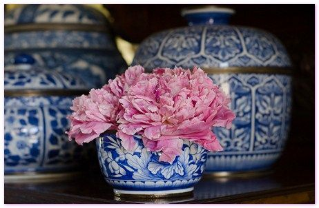 Peony heads in a Table Arrangement
