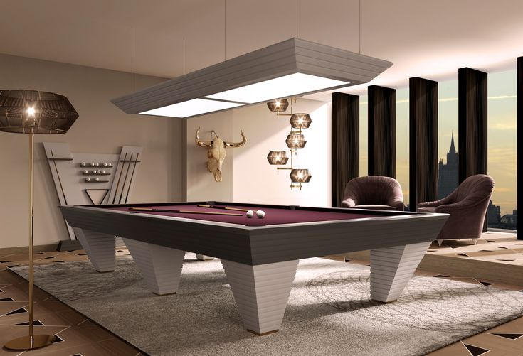 Vismara Design professional Pool Tables are realized following the Italian manufacturing tradition and using top quality materials. The structure is finely crafted from solid mahogany, the playing surface is made of slate plates and coated with a professional soft cloth, produced by the leading company Simonis.