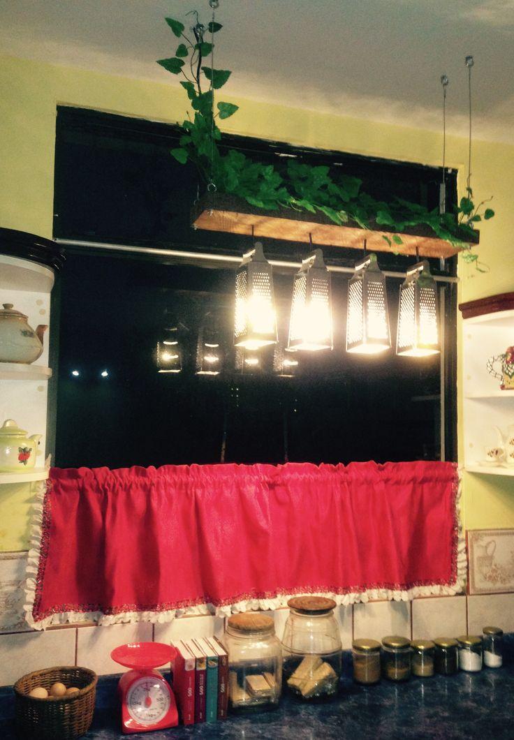 Lámpara de cocina, con ralladores y materiales reciclados luces LED 90% de ahorro