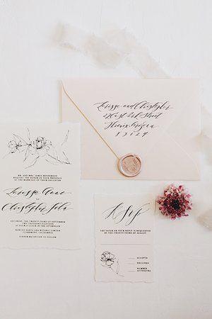 Brush Nib Studio Art Styles Line Drawn Wedding Invitations In