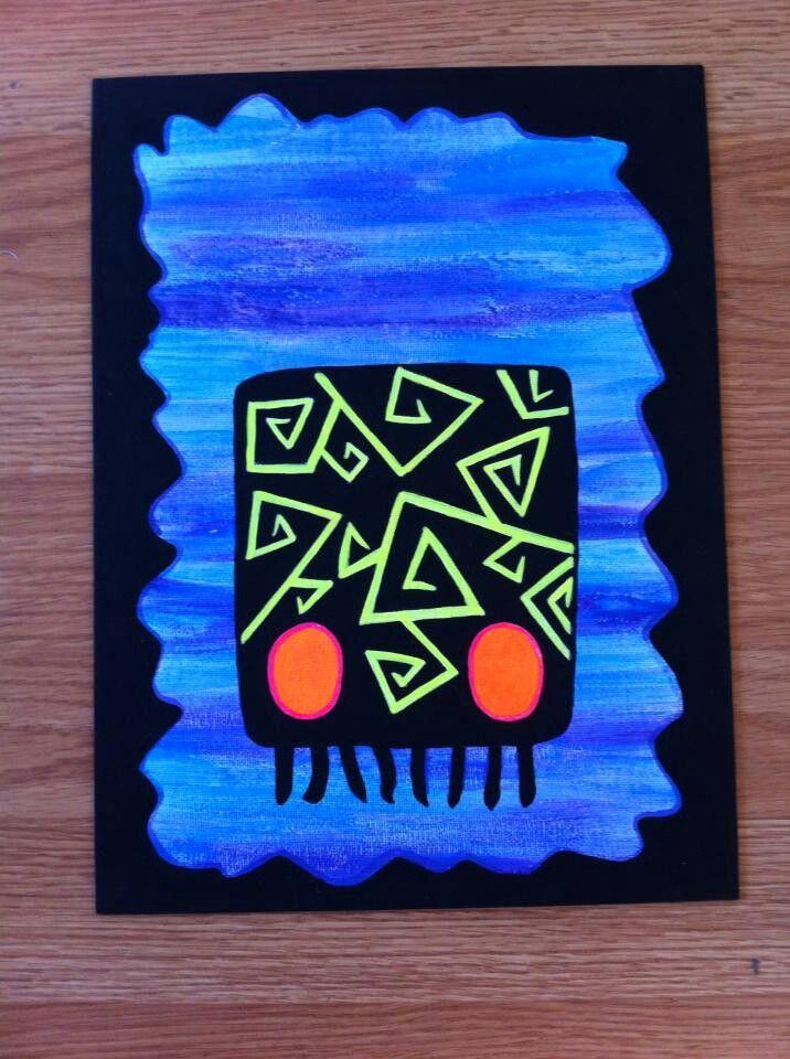 Black light jellyfish acrylic painting. ♡