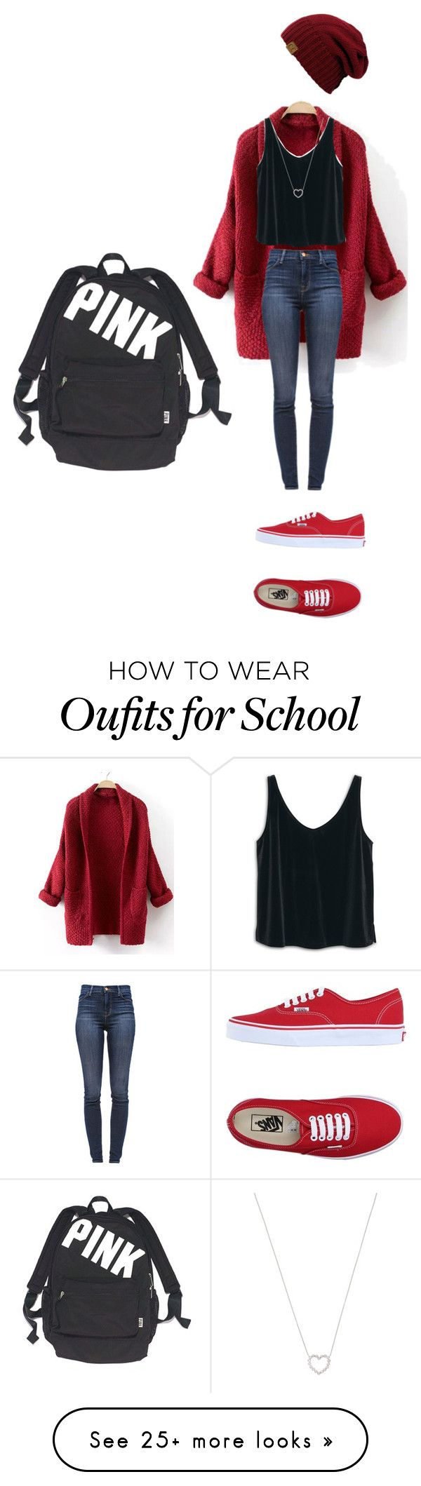 """School"" by katesalisbury2001 on Polyvore featuring J Brand, Vans, MANGO, Victoria's Secret and Tiffany & Co."
