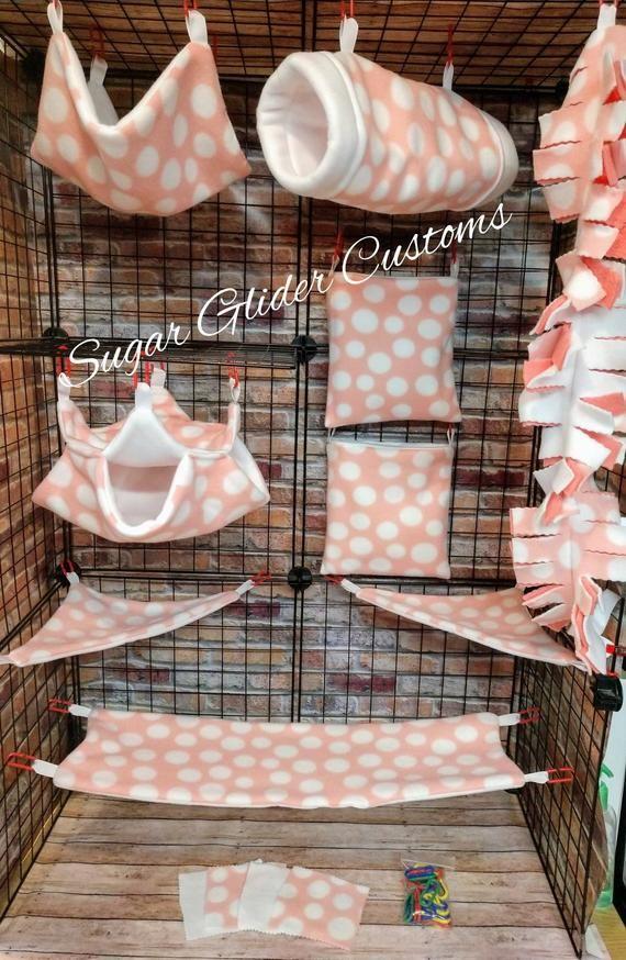Sugar Glider Set Pink Dots Suggie Bedding Sugar Glider Set Marmoset Set Rat Set Glider Accessories Holiday Gifts Christmas Gifts Sugar Glider Cage Sugar Glider Sugar Glider Pet