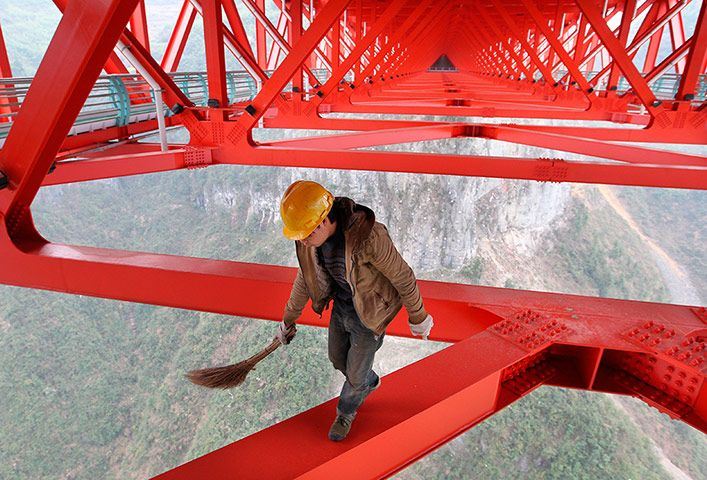 Sweeping up, 355m above the ground