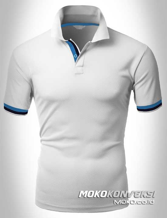 Polo Shirt Dual Stripes Accent | MOKO.CO.ID Buat Kaos Kerah Warna Putih.