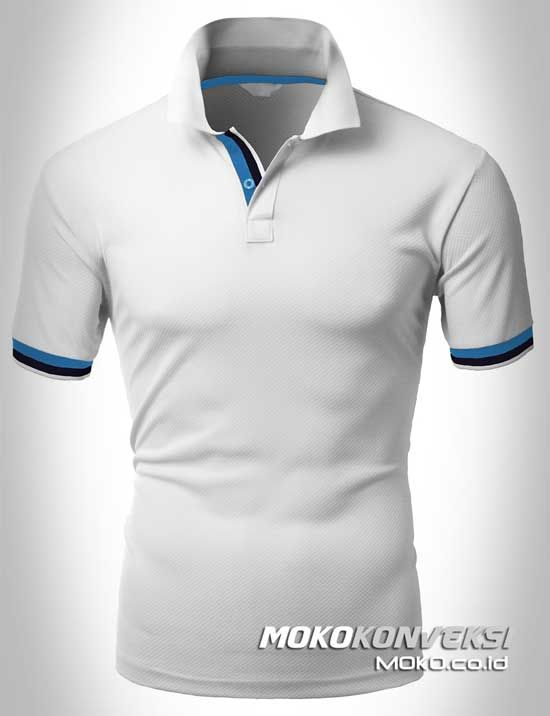 Polo Shirt Dual Stripes Accent | MOKO.CO.ID Buat Kaos Kerah Warna Putih.