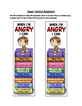 Laminate and cut out this bookmark for children who need help remembering anger control techniques. Each technique should first be discussed and practiced either in an individual counseling session or in a group.