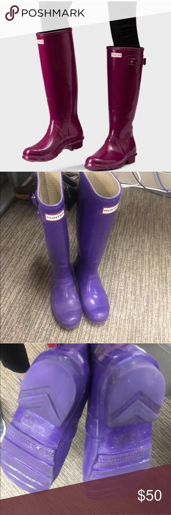 💯auth Hunter Wellington boots Purple! EUC! 💞 Purple (see last 3 photos) hunter Wellington boots (classic tall) purchased personally at Nordstrom in King of Prussia. In great condition with light wear to soles and upper. NOTE: these are a size 35 but fit BIG!!! They fit like a 5.5/6M (I wear a 6 and they felt BIG ON ME). Hunter Boots Shoes Winter & Rain Boots